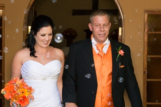 leaving the wedding chapel